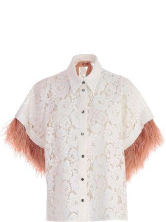 N.21 Fringed Sleeve Lace Blouse