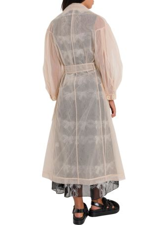 Simone Rocha Tulle Trench With Puffed Three Quarter Sleeves