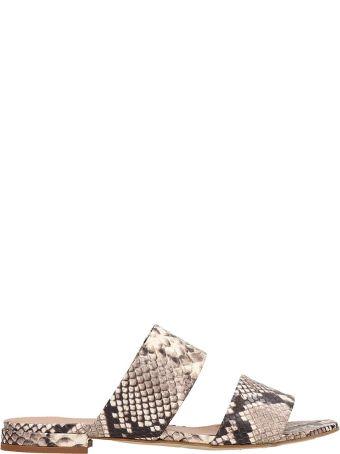 Julie Dee Beige Print Snake Leather Flat Sandals