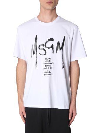 MSGM T-shirt With Graffiti Logo