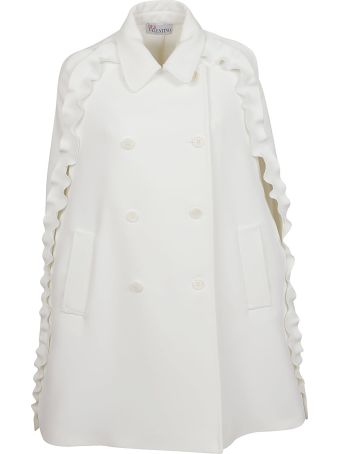 RED Valentino Double-breasted Ruffle Cape