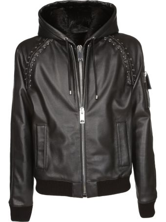 Les Hommes Hooded Leather Jacket