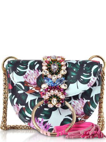Gedebe Brigitte Azure Tropical Flower Shoulder Bag