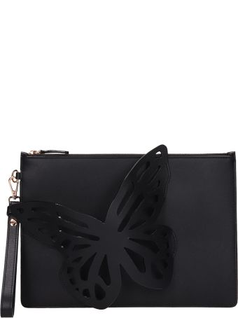 Sophia Webster Black Leather Flossy Butterfly Clutch Bag