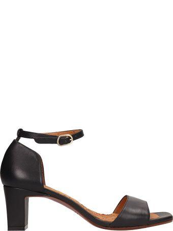 Chie Mihara Black Leather Lusaka Sandals