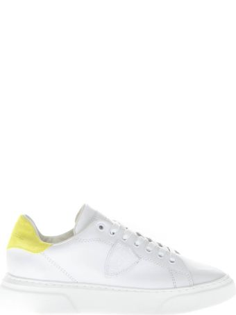 Philippe Model White Leather Sneakers With Yellow Suede Insert