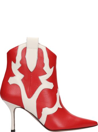Marc Ellis Red And White Ankle Boots