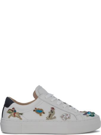 M.O.A. master of arts Moa Circus White Leather Sneakers With Embroidery