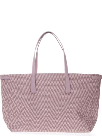 Zanellato Tote Duo Grand Tour Bag In Pink Resined Canvas