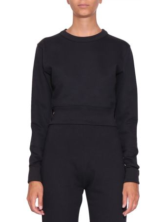 A plan application Navy Cotton Cropped Sweatshirt