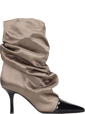 Marc Ellis Ankle Boots In Taupe Satin