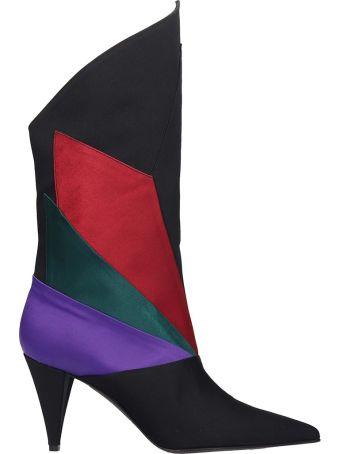 Marc Ellis Ankle Boots In Black Satin