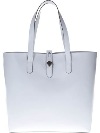 Hogan White Shopping Bag In Leather