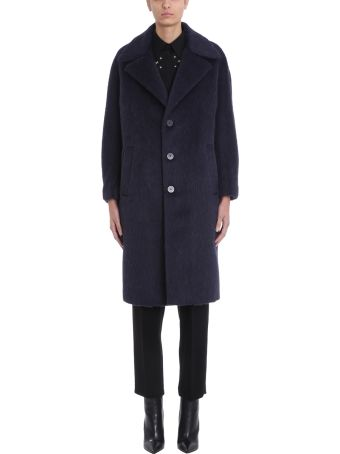 Neil Barrett Blue Wool Blend Coat
