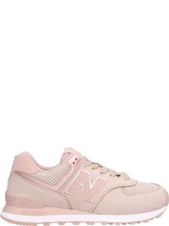 New Balance 574 Pink Nabuk Sneakers