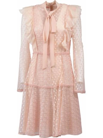 Giamba Laced Embroidered Flared Detailed Dress