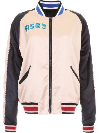 AS65 Satin Bomber Jacket With Flamingo