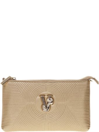 Versace Gold Faux Leather Clutch With Shoulder Strap