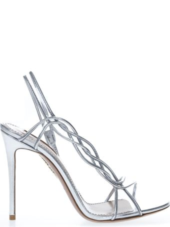 Aquazzura Swing Silver Leather Sandals