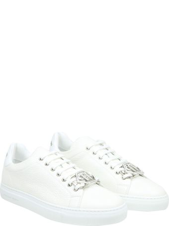 Philipp Plein Lo-top Hexagon Sneaker In White Leather