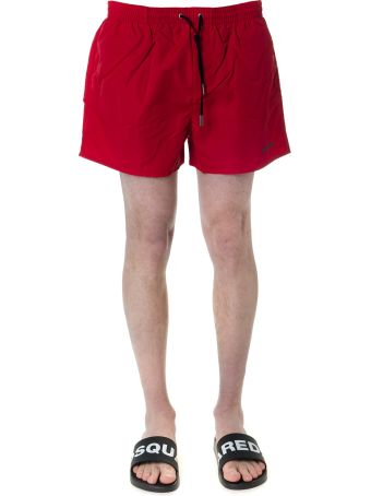 Dsquared2 Red Icon Swim Shorts In Technical Fabric