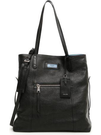 Prada Etiquette Logo Leather Tote Bag