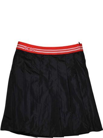 GCDS Mini Black Skirt With Folded Gcds