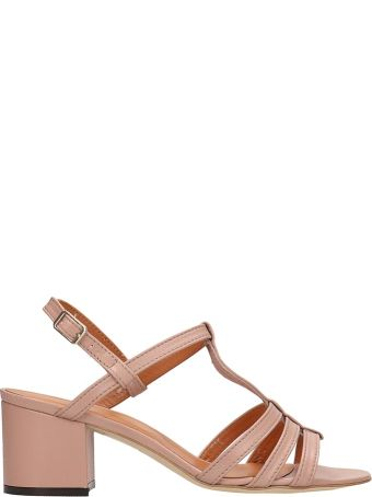 Via Roma 15 Pink Leather Sandals