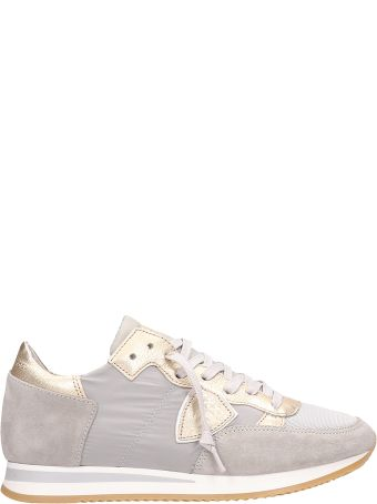 Philippe Model Tropez Grey-gold Suede Sneakers