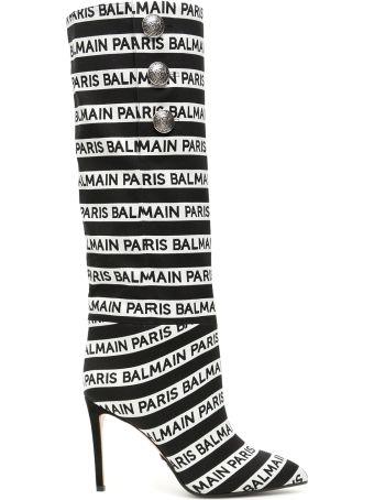 Balmain Jane Boots With Jacquard Logo