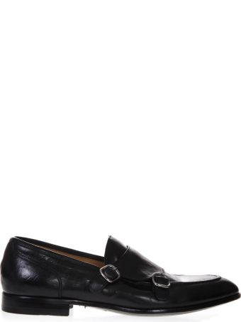 Green George Black Leather Loafers
