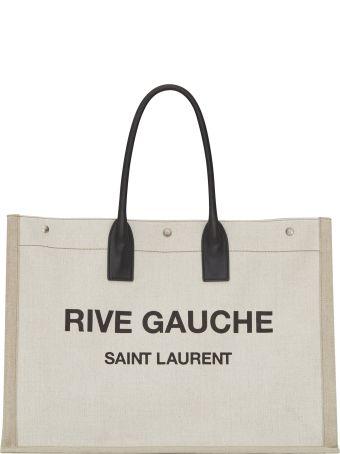 Saint Laurent Noe Linen Shopping Bag