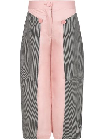 Owa Yurika Pink ''tomi'' Pants For Girl With Striped Details
