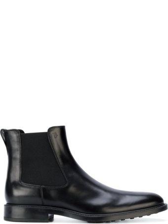 Tod's Black Leather Slip-on Booties