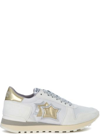 Atlantic Stars Alhena White, Gold And Silver Leather Sneakers