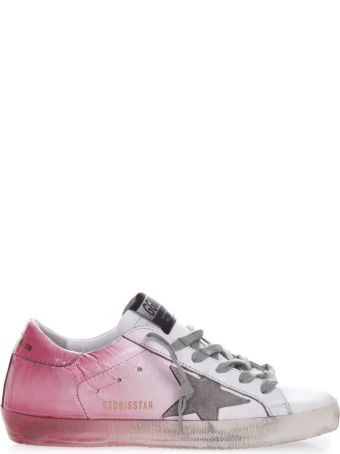 Golden Goose White & Pink Leather Script Sneaker