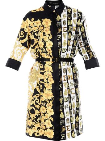 Versace Chemisier With Baroque Print And Belt
