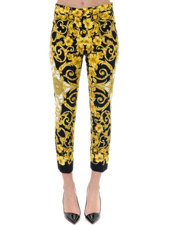 Versace Iconic Printed Tailored Trousers Black E Gold