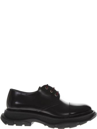 Alexander McQueen Black Leather Derby Shoes With Oversize Sole