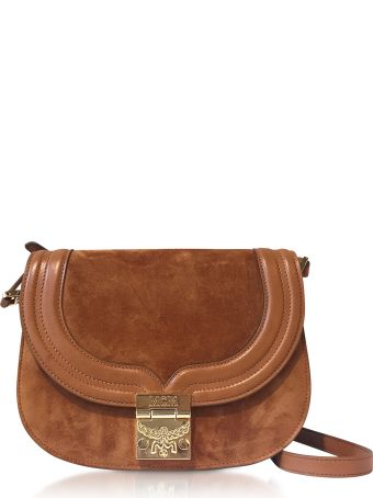 MCM Trisha Cognac Suede And Leather Small Shoulder Bag