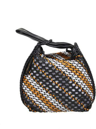 3.1 Phillip Lim Phillip Lim Ines Hand Bag In Braided Leather Color Black / White / Orange