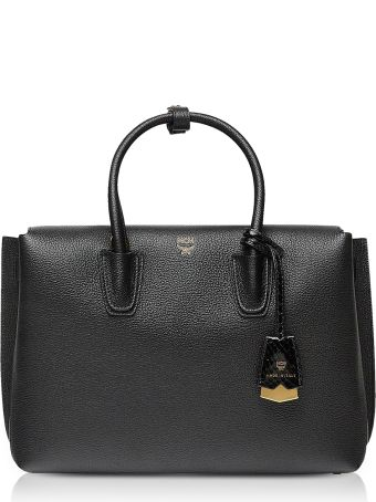 MCM Black Grained Leather Milla Medium Tote