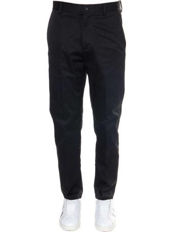 Valentino Black Vltn Print Straight Leg Trousers In Cotton