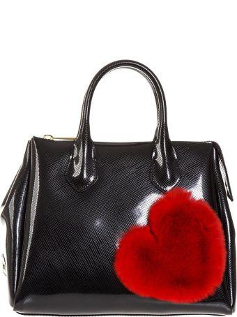 Gianni Chiarini Black Fur Heart Rubber Bag
