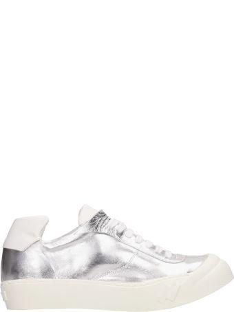 Cinzia Araia Metal Silver Leather Sneakers