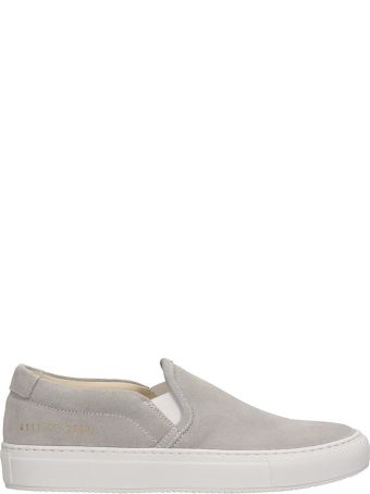 Common Projects Grey Suede Slip On Sneakers