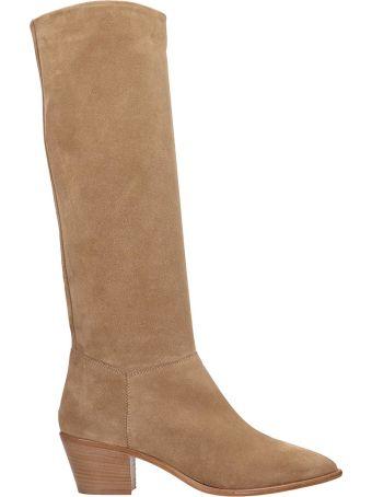 Julie Dee Beige Suede Texano Boots
