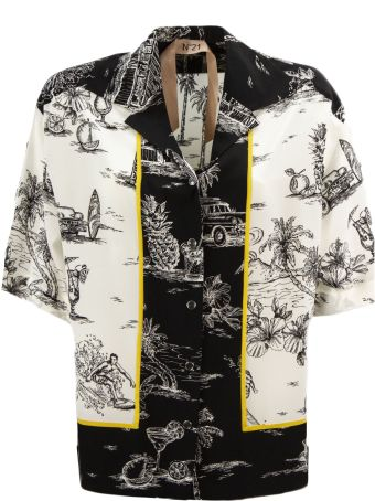 N.21 Black And White Silk Shirt