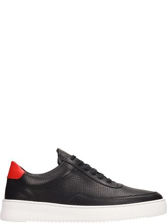 Filling Pieces Low Mondo Ripple Black Leather Sneakers