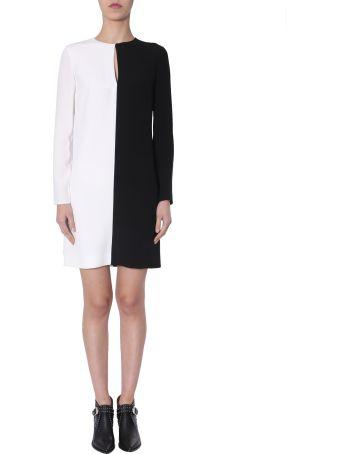 Givenchy Short Dress Long Sleeved Bicolour Dress